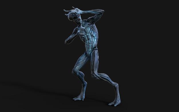 Ilustração 3d de um alienígena de olhos vermelhos no preto.