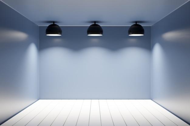 Ilustração 3d de um apartamento preto monocromático com piso de madeira, paredes lisas e três lâmpadas idênticas.