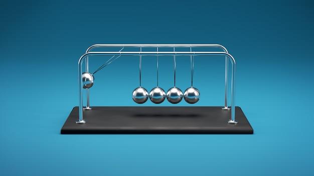 Ilustração 3d de um berço de newton, esferas de metal cromado com reflexos em movimento de colisão