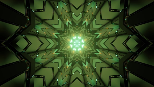 Ilustração 3d de um caleidoscópio em loop com luz de néon verde refletindo em figuras geométricas