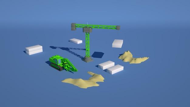 Ilustração 3d de um canteiro de obras, um guindaste levanta blocos de construção.