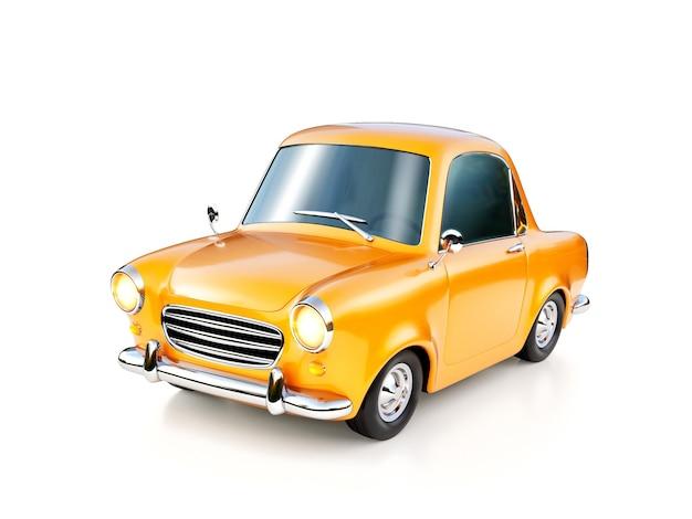 Ilustração 3d de um carro retro de desenho animado amarelo engraçado isolado na superfície branca