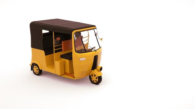 Ilustração 3d de um carro riquixá, um veículo para transportar pessoas. carro tuk tuk, elemento de design isolado no fundo branco.