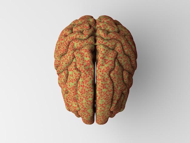 Ilustração 3d de um cérebro doente em uma superfície clara
