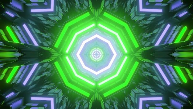 Ilustração 3d de um ciberespaço futurista multicolorido brilhante com luzes de néon formando um fundo abstrato