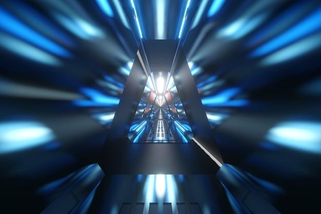 Ilustração 3d de um corredor de ficção científica de uma nave espacial ou estação espacial.