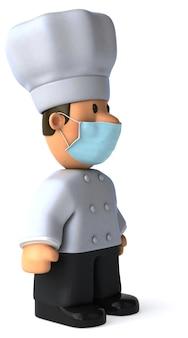 Ilustração 3d de um cozinheiro chefe dos desenhos animados