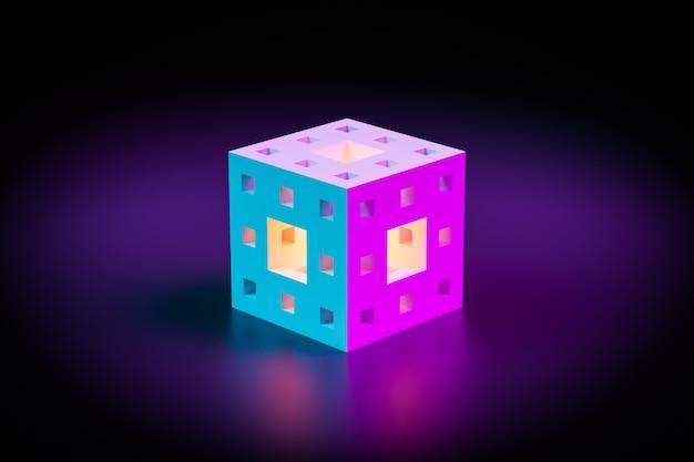 Ilustração 3d de um cubo de néon com várias janelas luminosas brilhando em um quarto escuro. forma cibernética na realidade virtual. conceito de casa futurista