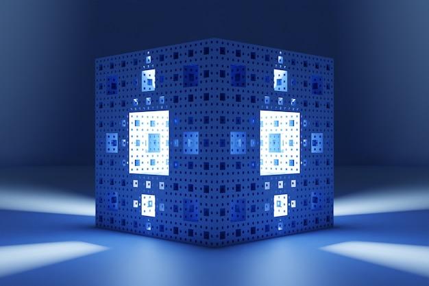 Ilustração 3d de um cubo de néon com várias janelas luminosas brilhando intensamente em um quarto escuro. forma cibernética em realidade virtual. conceito de casa futurista
