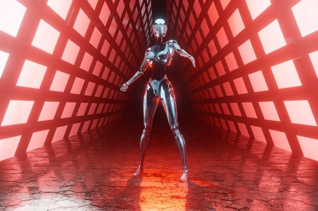 Ilustração 3d de um cyborg em um ambiente scifi