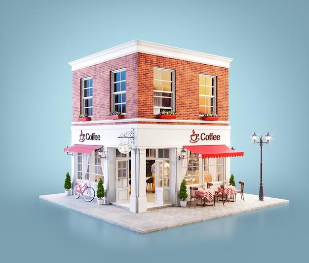 Ilustração 3d de um edifício de café aconchegante com toldo vermelho e mesas ao ar livre