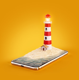 Ilustração 3d de um farol na tela de um smartphone