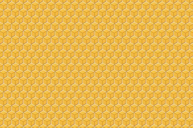 Ilustração 3d de um favo de mel monocromático amarelo e branco do favo de mel para o mel.
