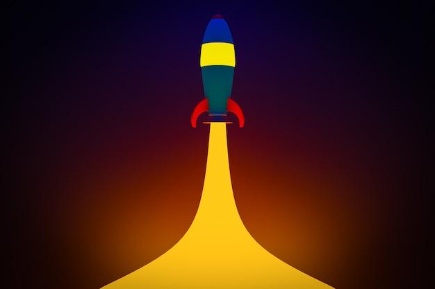 Ilustração 3d de um foguete azul estilo cartoon correndo para o espaço