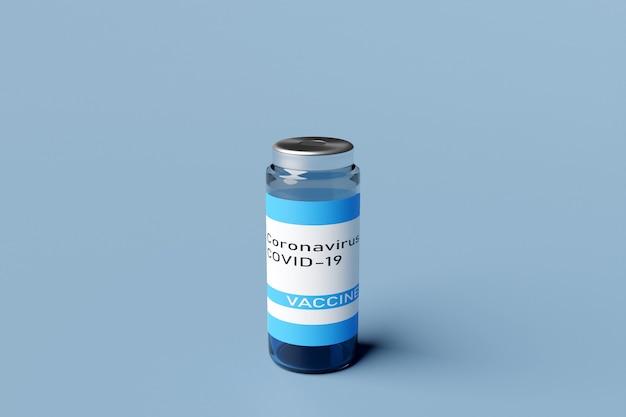 Ilustração 3d de um frasco descartável com vacina de coronavírus covid-19 em fundo azul isolado