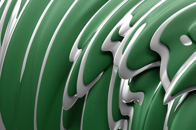 Ilustração 3d de um fundo verde abstrato com círculos cintilantes e brilho