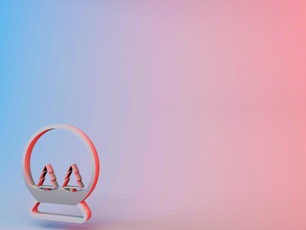 Ilustração 3d de um globo de neve com árvores de natal em um fundo gradiente