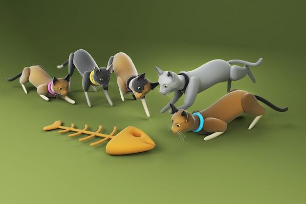 Ilustração 3d de um grupo de gatos olhando para a espinha de peixe