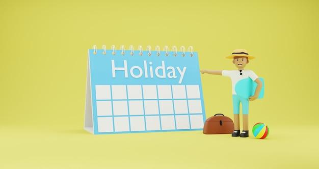 Ilustração 3d de um homem apontando para uma mesa de calendário de feriados com um tema de praia