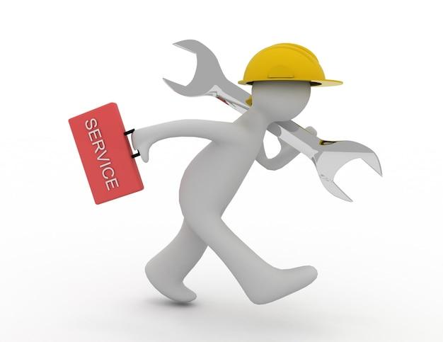 Ilustração 3d de um homem correndo e carregando uma ferramenta de chave inglesa