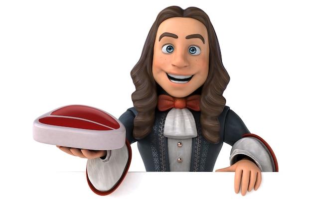 Ilustração 3d de um homem de desenho animado em um traje barroco histórico Foto Premium
