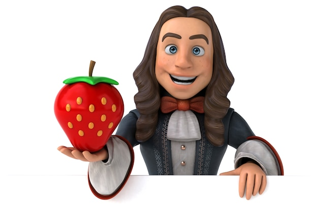 Ilustração 3d de um homem de desenho animado em um traje barroco histórico