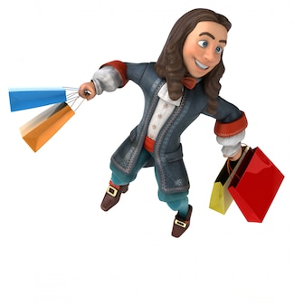 Ilustração 3d de um homem dos desenhos animados em traje barroco histórico