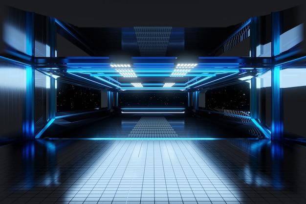 Ilustração 3d de um interior de uma nave espacial ou estação espacial.