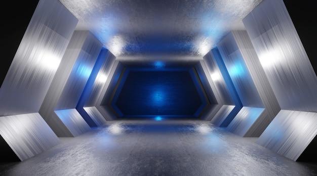 Ilustração 3d de um interior escuro