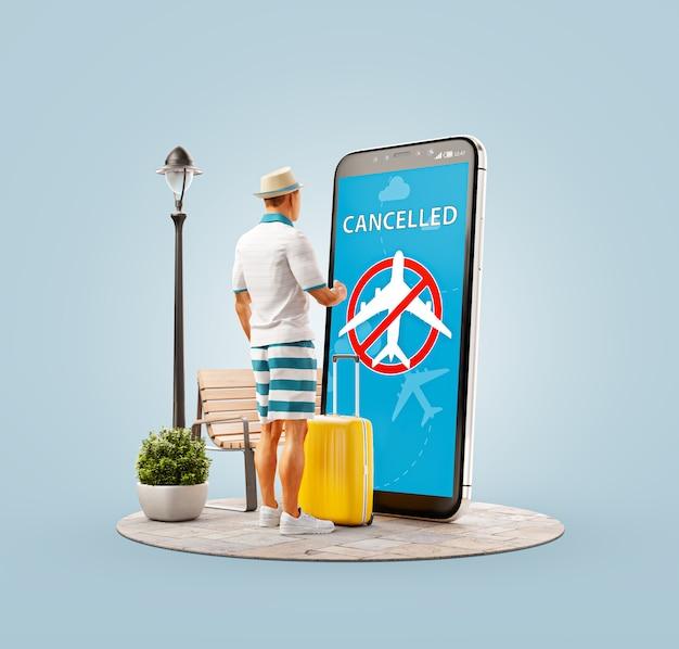 Ilustração 3d de um jovem em frente a um smartphone