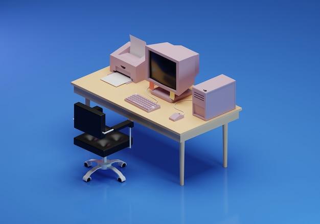 Ilustração 3d de um local de trabalho à moda antiga