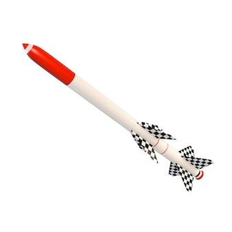 Ilustração 3d de um míssil de dois estágios com um vermelho derrubado.