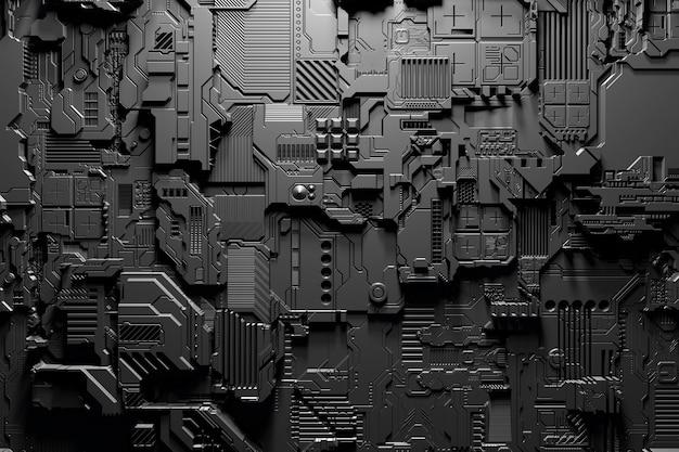 Ilustração 3d de um modelo realista de um robô ou armadura cibernética