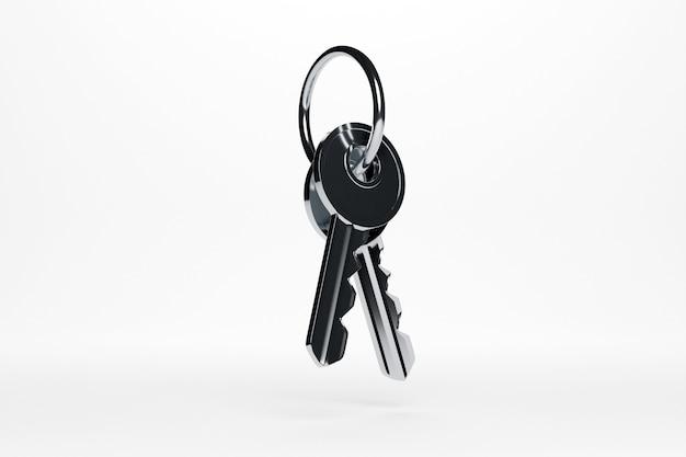 Ilustração 3d de um molho de chaves de metal prateado de uma casa nova, apartamento em um fundo branco isolado