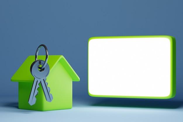 Ilustração 3d de um molho de chaves, uma nova casa vermelha - um novo edifício e ao lado de um campo vazio para texto publicitário. conceito e símbolo de mudança e compra de casa nova