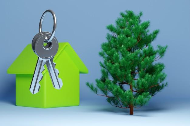 Ilustração 3d de um molho de chaves, uma nova casa vermelha - um novo edifício e uma bela árvore conífera verde - abeto. conceito e símbolo de mudança e compra de casa nova