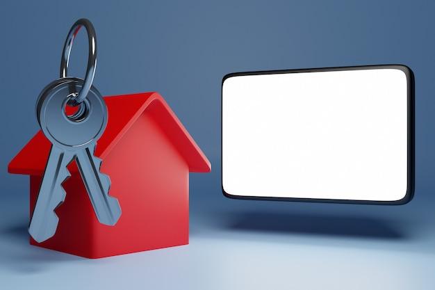 Ilustração 3d de um molho de chaves, uma nova casa vermelha