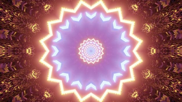 Ilustração 3d de um ornamento futurista em forma de estrela com luzes de néon coloridas abstratas