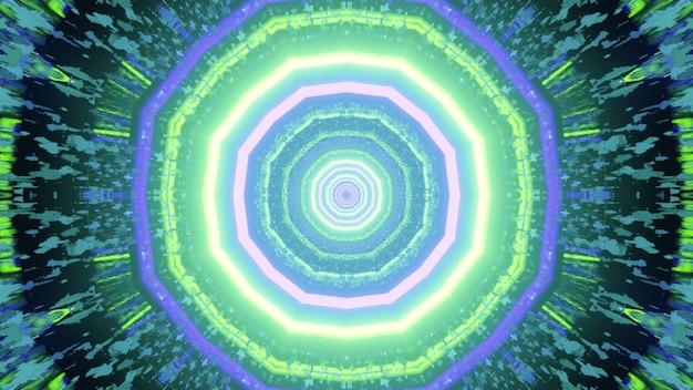 Ilustração 3d de um padrão circular simétrico com lâmpadas de néon brilhantes em um túnel giratório