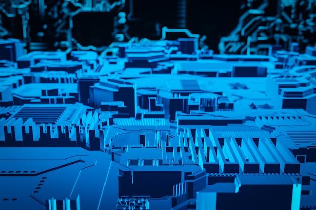 Ilustração 3d de um padrão em forma de metal, revestimento tecnológico de uma nave espacial ou de um robô. gráficos abstratos no estilo dos jogos de computador. close da armadura cibernética azul nas luzes de néon