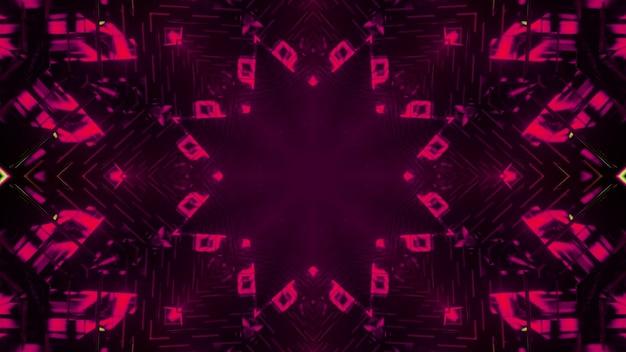 Ilustração 3d de um padrão floral de néon brilhante com linhas simétricas em um túnel escuro como fundo abstrato