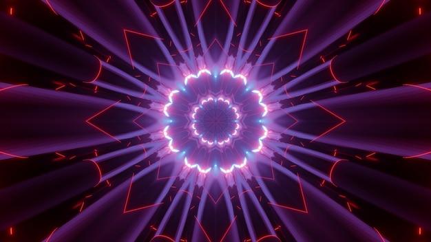 Ilustração 3d de um padrão fractal em forma de flor com iluminação de néon