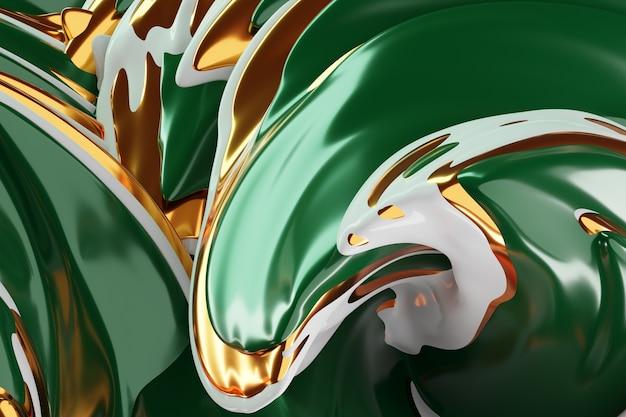 Ilustração 3d de um padrão hipnótico. fundo verde abstrato com círculos cintilantes e glitter. design luxuoso de fundo