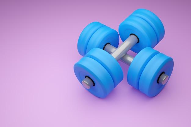 Ilustração 3d de um par de halteres de metal azul brilhante