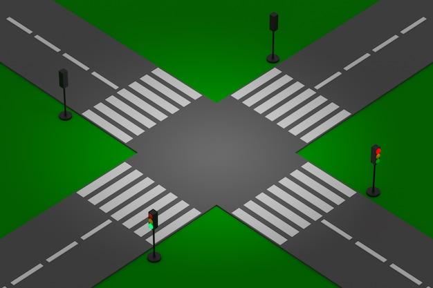 Ilustração 3d de um pequeno trecho urbano da estrada com uma estrada de automóvel, uma encruzilhada e uma marcação, semáforo.