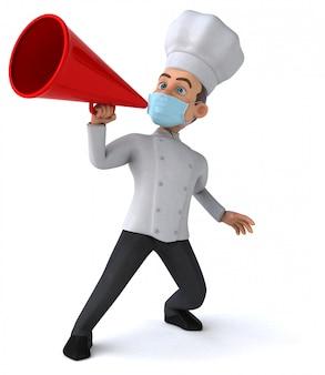 Ilustração 3d de um personagem de desenho animado com uma máscara para prevenção de coronavírus