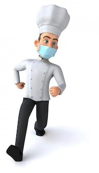 Ilustração 3d de um personagem de desenho animado com uma máscara