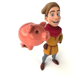 Ilustração 3d de um personagem histórico medieval com cofrinho