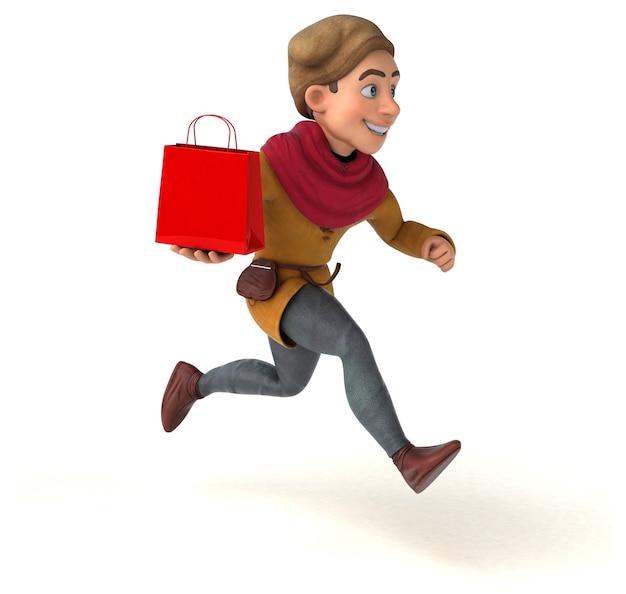 Ilustração 3d de um personagem histórico medieval com uma sacola de compras vermelha