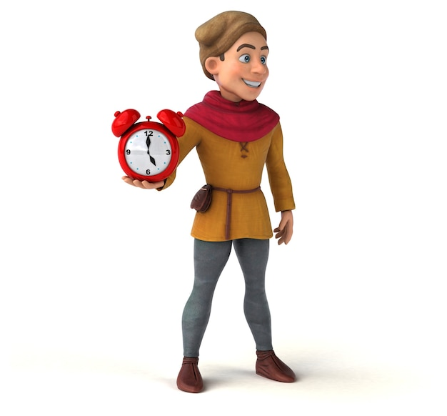 Ilustração 3d de um personagem histórico medieval